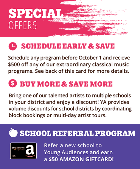 Ad for Young Audiences Special Offers for 2018-2019 School Year
